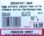 Belich's Market and Creekside Market Breakfast Wrap