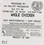 AA Poultry Chicken & Turkey Recall [US]