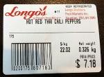 Longo's Hot Red Thai Chili Pepper Recall [Canada]