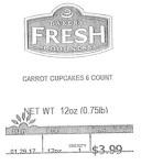 Bakery Fresh Goodness Carrot Cupcake Recall [US]