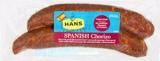 Hans Spanish Chorizo Pork Sausage Recall [Australia]