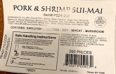 A & A Finest Frozen Pork & Shrimp Dumpling Recall [US]