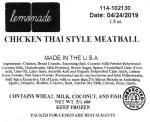 Lemonade Chicken Thai Style Meatball Recall [US]