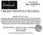 Lemonade Chicken Thai Style Meatball Recall [US]