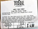 Whole Foods Green Chile Chicken Tamale Recall [US]
