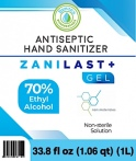 Zanilast+ Gel branded Sanitizer Gel