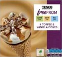 Tesco Free From 4 Toffee & Vanilla Cones Recall [UK]